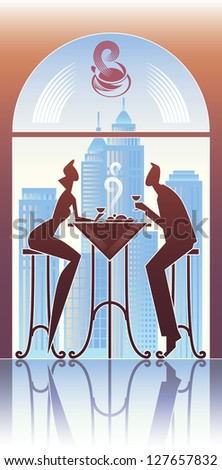 Couple have a dinner in the city restaurant. Raster image. Find editable vector version in my portfolio. - stock photo