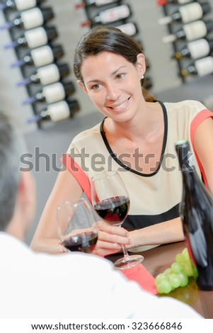 Couple having a nice lunch - stock photo