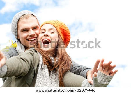 couple having fun and smiling - stock photo