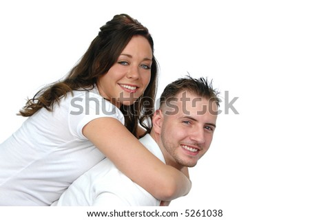 Couple having fun isolated on white background - stock photo