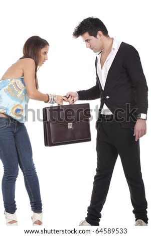 couple holding briefcase isolated on white - stock photo