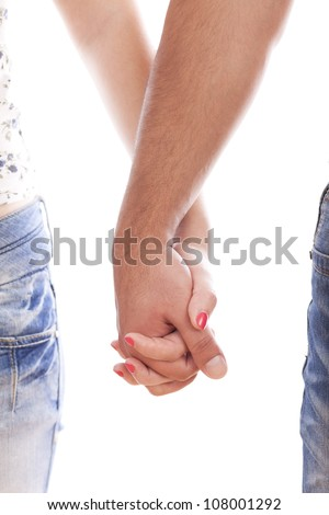 Couple holding hands over white background - stock photo