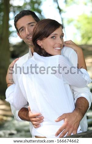 Couple hug - stock photo