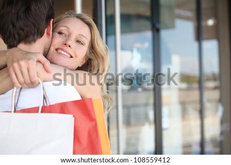 Couple hugging - stock photo