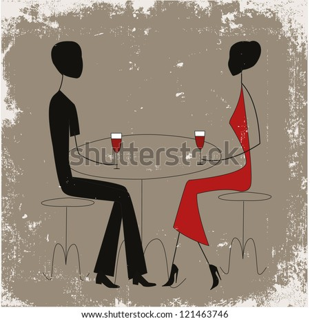Couple in a cafe, stick figures - stock photo