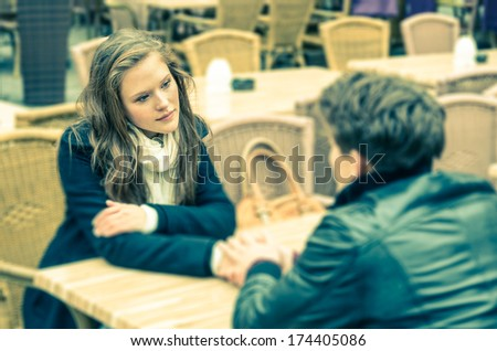 Couple in a deep moment of a Confession - stock photo