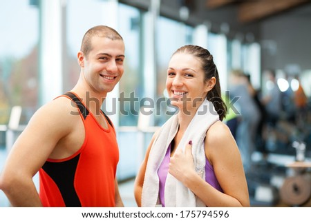 Couple in a fitness club - stock photo