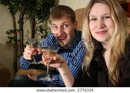 couple in bar - stock photo