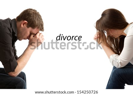 couple in divorce crisis - stock photo