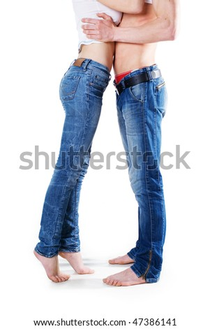 Couple in jeans in love - stock photo