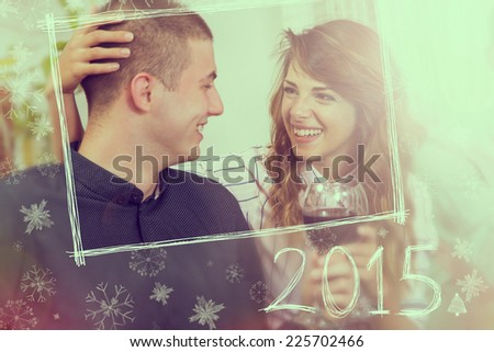 Couple in love celebrating New Year toasting each other  - stock photo
