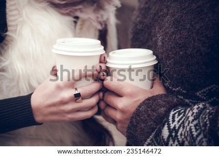 Couple in love dating with coffee - stock photo