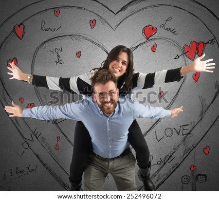 Couple in love having fun living life - stock photo