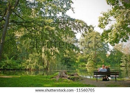 couple in love in park - stock photo