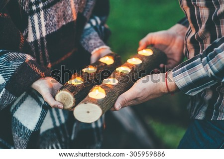 couple in love, outdoors near old tree - stock photo