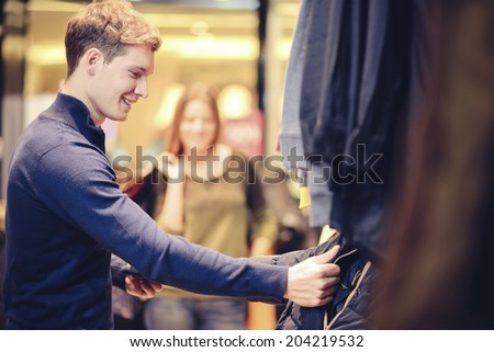 couple in shopping - stock photo