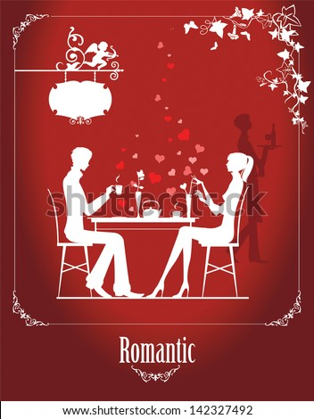 Couple in the cafe. Raster version of vector illustration. - stock photo