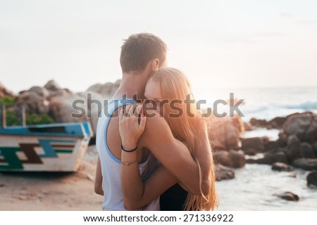 Couple in the tropic country - stock photo