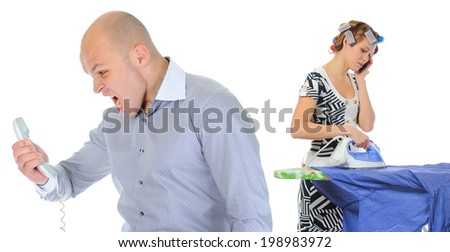 Couple is arguing while talking over the telephone. Isolated on white background - stock photo