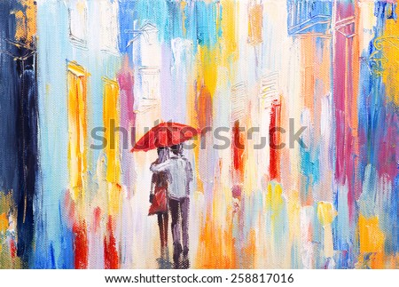 couple is walking in the rain under an umbrella, abstract colorful oil painting - stock photo