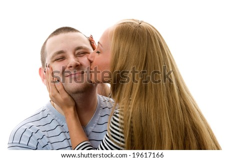 Couple kissing. Isolated on white background. - stock photo