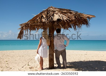 couple looking at the sea under palm leaf umbrella - stock photo