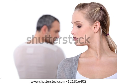 Couple mad at each other. - stock photo