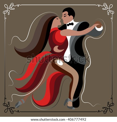 Couple (man and woman), dancing the tango. Suitable for invitation, flyer, sticker, poster, banner, card,label, cover, web.  - stock photo