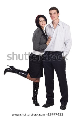 Couple man woman together isolated. More images of this models you can find in my portfolio - stock photo