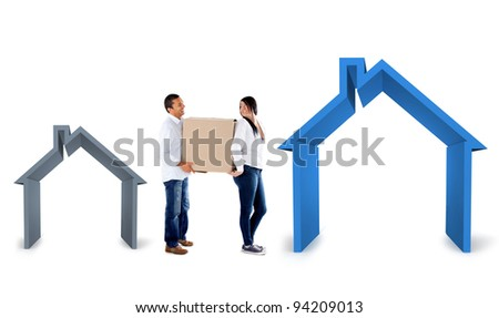 Couple moving into a bigger house - isolated over a white background - stock photo