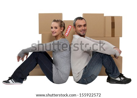 couple moving together - stock photo