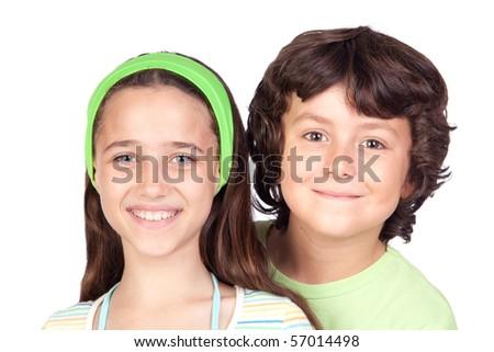 Couple of children isolated on white background - stock photo