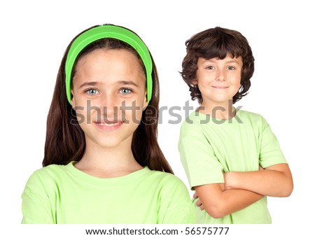 Couple of children with same clothes isolated on white background - stock photo