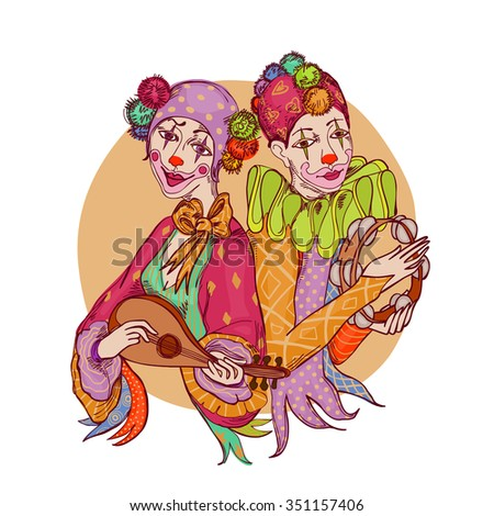 couple of colorfully dressed clowns with musical instruments - stock photo
