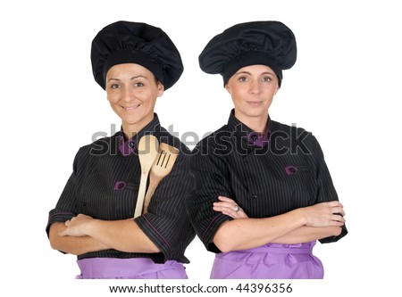 Couple of cooks women with black uniform isolated on white background