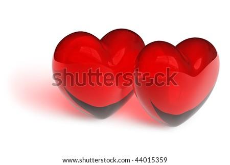 Couple of crystal hearts - stock photo