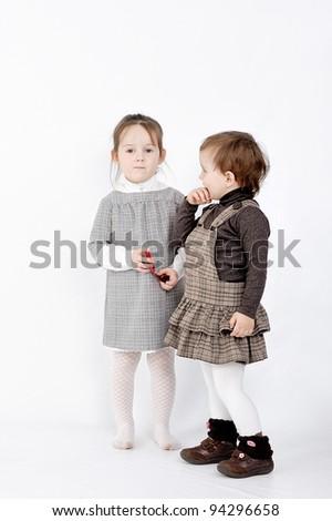 couple of cute girls - stock photo
