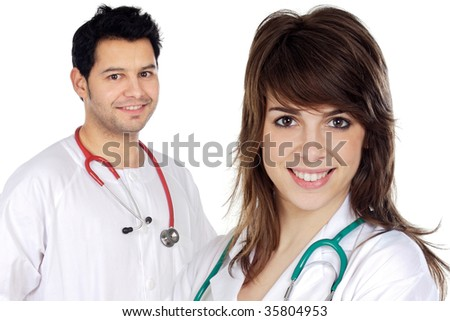 Couple of doctors a over white background