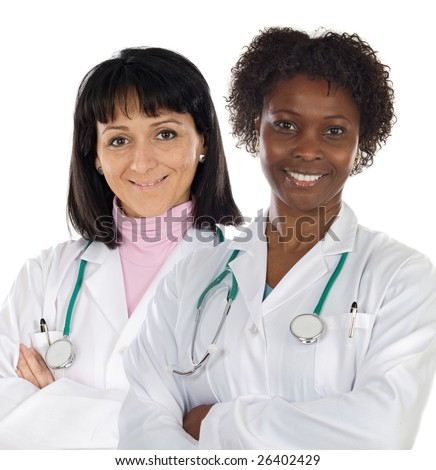 Couple of doctors girl a over white background