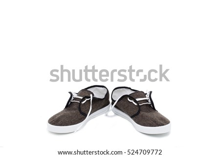 Couple of fabric sneakers. Isolated on the white background.