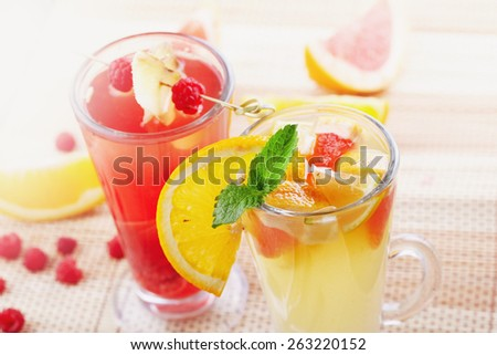 Couple of fruit cocktails - stock photo