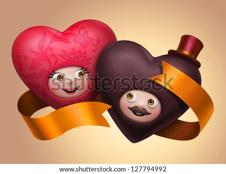 couple of funny cute Valentines day hearts with happy faces