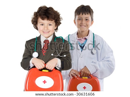 Couple of future doctors a over white background - stock photo