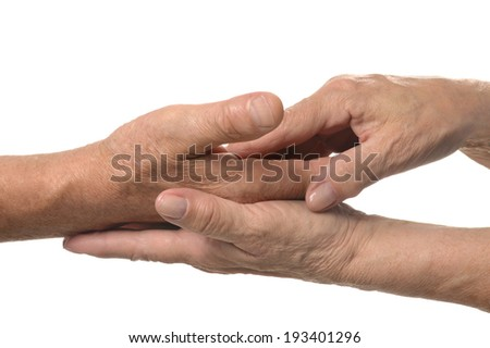 Couple of hands on a white background