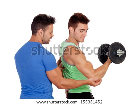 Couple of handsome muscled men training isolated on a white background