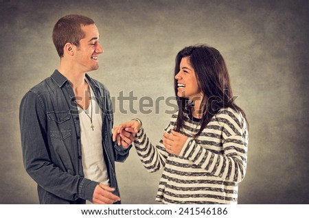 Couple of happy sweethearts in affectionate relationship - stock photo