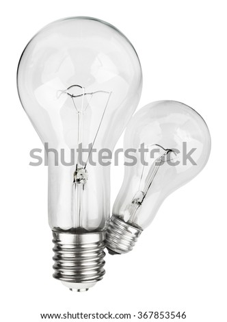 Couple of light bulbs isolated on white with clipping path