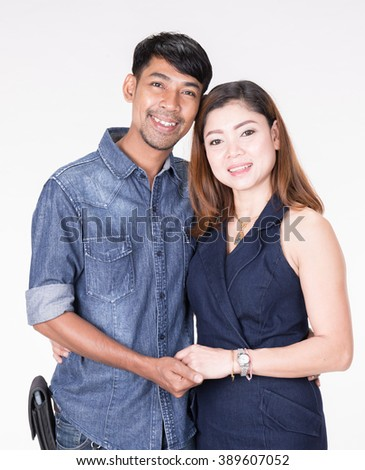Couple of lovers on white background