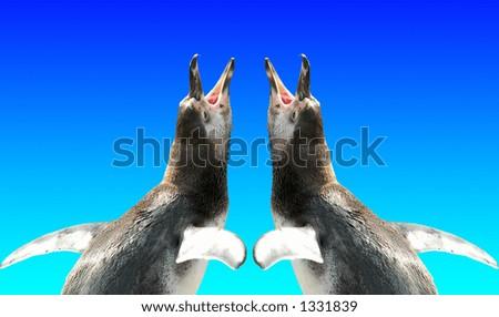 couple of penguins crying - stock photo