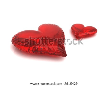Couple of red hearts isolated on white - stock photo